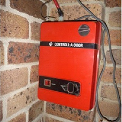 Red control box on the wall thumb